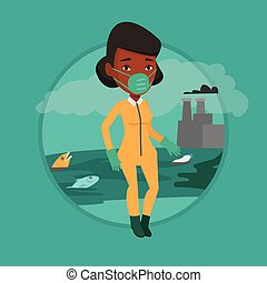 femme, protecteur, radiation, suit.
