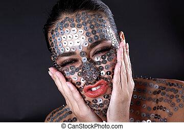 femme, -, pushpin, démangeaison, cactus