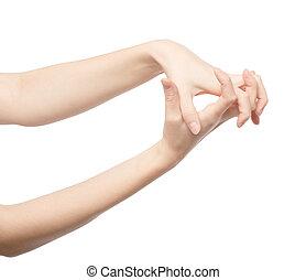 femme, quelque chose, tenant main