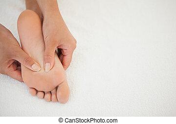 femme, réception, a, massage pied