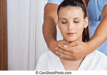 femme, réception, cou, masage