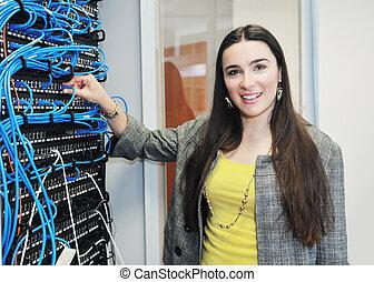 femme, réseau, salle, il, serveur, ingénieur