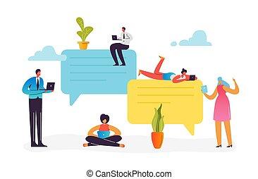 femme, réseau, tablette, mobile, média, concept., social, communication., illustration, ordinateur portable, vecteur, bavarder, appareils, caractères, ligne, utilisation, internet., smartphone, homme