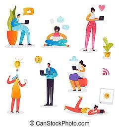 femme, réseau, tablette, mobile, média, concept., social, communication., illustration, ordinateur portable, gadgets, vecteur, bavarder, caractères, ligne, utilisation, internet., smartphone, homme