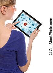 femme, réseau, touchpad, pc, surfer, tenue, social