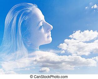 femme, résumé, ciel, jeune, contre, portrait