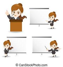 femme, réunion, business, présent