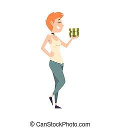 femme, réussi, argent, jeune, illustration, chanceux, vecteur, riche, riche, piles, girl, heureux