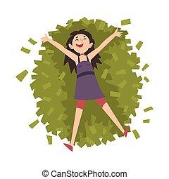 femme, réussi, argent, riche, chanceux, illustration, millionnaire, vecteur, tas, riche, jeune fille, mensonge, heureux
