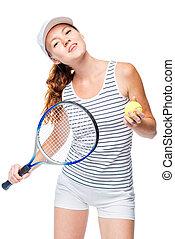 femme, réussi, tennis, poser, fond, blanc