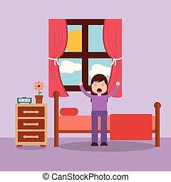femme, réveiller, lit, étirage