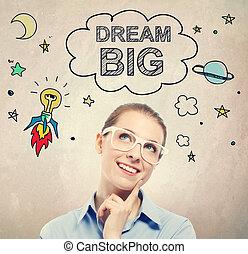 femme, rêve, business, jeune, croquis, idée, grand