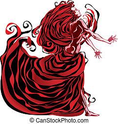 femme, red.
