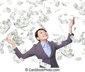 femme, regard, business, argent, haut, pluie, sous