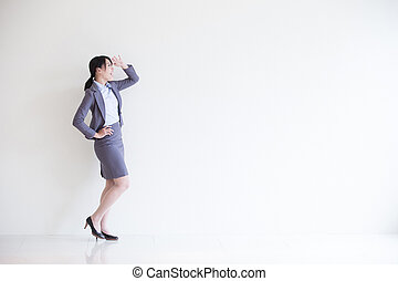femme, regard, business, quelque chose