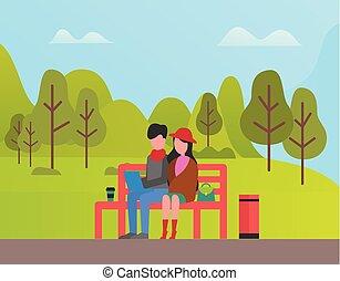 femme relâche, séance, couple, parc, homme
