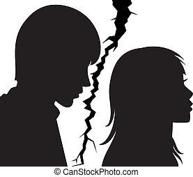 femme, relation, jeune, cassé, entre, homme