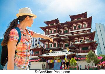 femme, relique, voyage, singapour, asie, dent, bouddha, temple, heureux