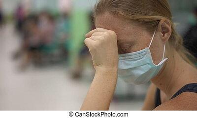 femme, rendez-vous, séance, hôpital, jeune, attente, malade, docteur