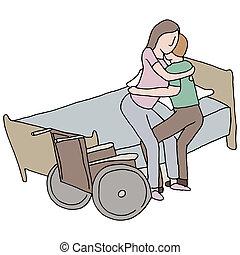 femme rendue infirme, levage