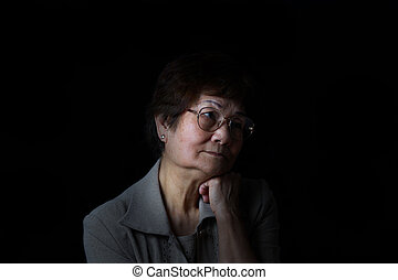 femme, reposer, tête, noir, déprimé, fond, personne agee, ...