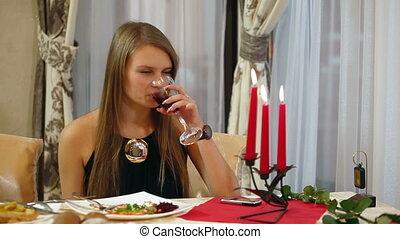 femme, restaurant