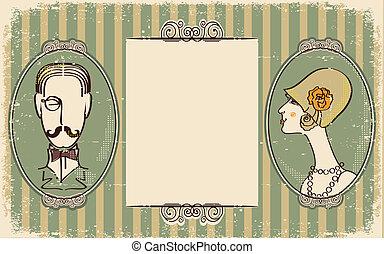 femme, retro, papier, portraits., fond, vieil homme