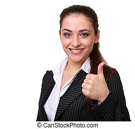 femme, reussite, business, isolé, haut, signe, sourire, pouce