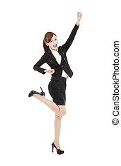 femme, reussite, business, jeune, asiatique, geste, heureux