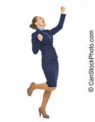 femme, reussite, business, réjouir, longueur, entiers, portrait, heureux