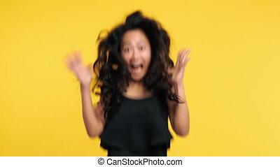 femme, reussite, extatique, joie, célébrer, sauter,...