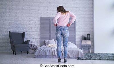 femme, reussite, poids, projection, après, elle, loosing
