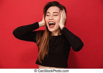 femme, rire, jeune