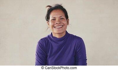 femme, rire, sourire, asiatique