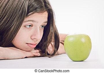 femme, rith, heureux, frais, jeune, sourire, pomme verte