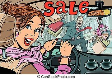 femme, roa, chauffeur, bas, vente, pedestrian., va, frappe, homme