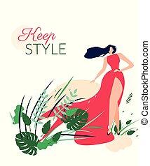 femme, robe, card., long, rouges, beau, élégant