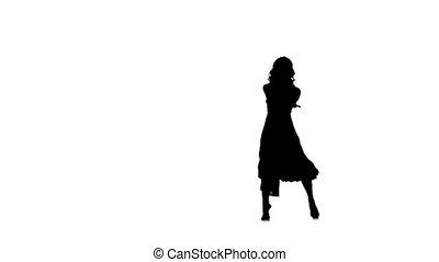 femme, robe, danse, jazz-pop, mouvement, jeune, jazz, lent, mince, danseur, long, broadway, fond, silhouette, blanc