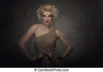 femme, robe, retro