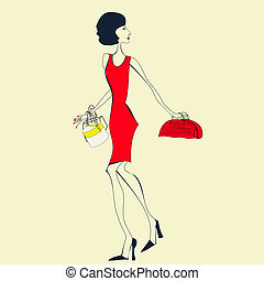 femme, robe, rouges