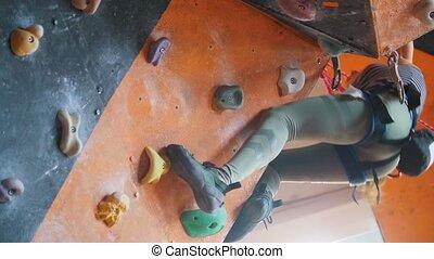 femme, rocheux, mur, escalade, effort, bouldering.