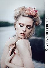 femme, Romantique, blonds