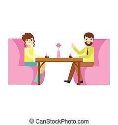 femme, romantique, dessert, illustration, date, personne, vecteur, patisserie, doux, sourire, café, avoir, homme