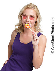 femme, rond, lollypop
