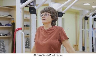 femme, room., personnes agées, actif, physiothérapie, seniors., fitness, exercices, sain, gymnastics.