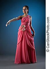 femme, rose, habillé, tissu, mode, magnifique