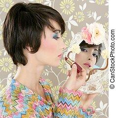 femme, rouge lèvres, maquillage, retro, miroir, minable