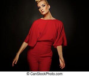 femme, rouges, mode