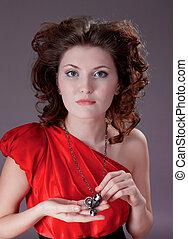 femme, rouges, vendange, robe