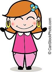 femme, rougissement, -, femme foyer, vecteur, illustration, maman, dessin animé, retro